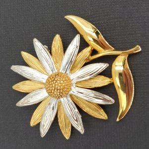 Silver & Gold Tone Daisy Brooch
